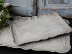 Tablett Ornamente antik sand Shabby Vintage Chic 2-er Set
