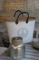 "Preview: Tasche Shopper  ""PEACE""  weiß/grau"