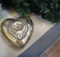 Preview: Keramikherz mit Ornament - Antik Silber-Gold - Vintage