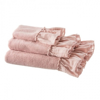 Exclusives Handtuch Badetuch Gästehandtuch Frottee Volant rose