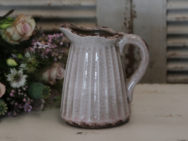 Kanne Vase antique powder-rose krakeliert H. 19cm