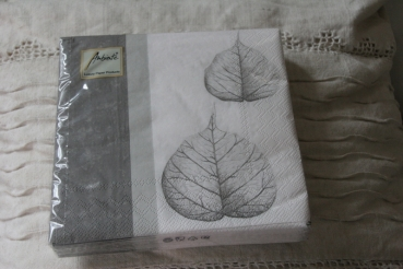 Servietten ELEGANCE  Blatt LEAVES grey  Ambiente