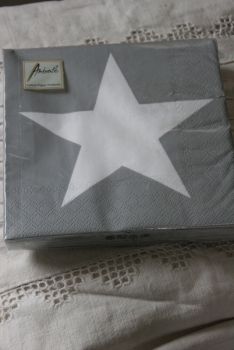 Serviette grey white star - Stern - Ambiente -